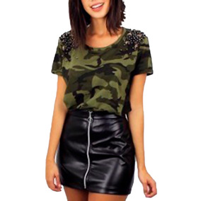 Blusa Feminina Militar Pedraria Peplum - T-shirt Customizada