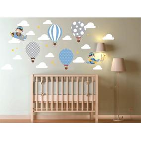 Adesivo Parede Infantil Balão + Nuvens + Aviões + Estrelas