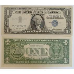 Cédula $1 Dólar 1957 Selo Azul 1957 - Certificado De Prata