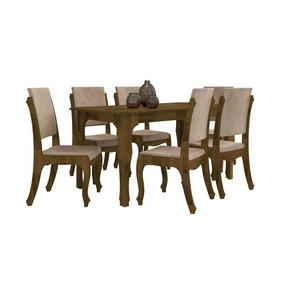 Mesa De Jantar Com 6 Cadeiras Ônix Amadeirado - Rv Móveis