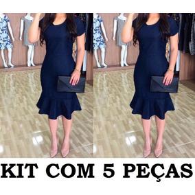 Kit Com 5 Vestido Midi Estilo Jeans Moda Evangélica 2018