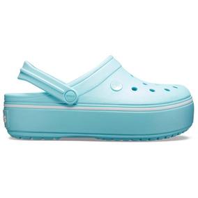 Sandalia Crocs Dama Crocband Platform Clog Azul