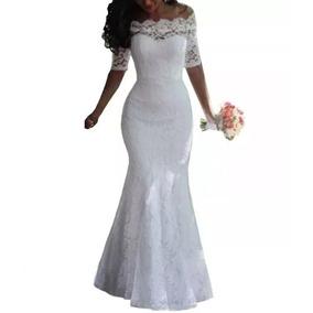 Vestido Longo Sereia Noiva, Casamento Civil D030
