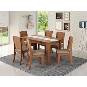 Conjunto De Mesa 136x80cm Com 6 Cadeiras Barbara - Cimol