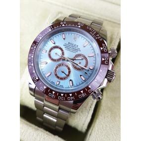 Reloj Rolex Daytona Acero Esfera Azul Y Bisel Cafe Automatic