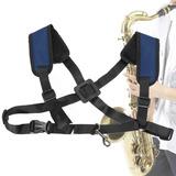Saxophone Strap Snap Hook Arnés Correa De Hombro Negro Azul