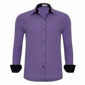 f92c97ecb5108 Camisa Slim Fit - Camisa Social Manga Longa Masculino Azul violeta ...
