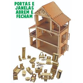 1 Casa Casinha 60cm Para Boneca Polly Pocket + 27 Móveis Mdf