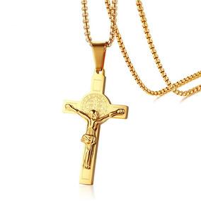 Cordão Masculino Pingente De Cruz Jesus Cristo Cor De Ouro