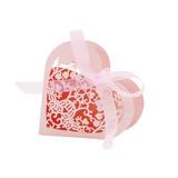 20x Coração Paper Cut Doce Doce Caixa W / Ribbon Casamento P
