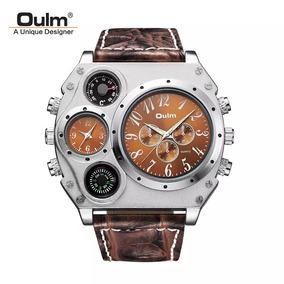 94ec496e01d Relogio Oulm Oversize Pulseira Couro - Relógios De Pulso no Mercado ...