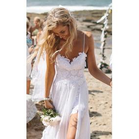 Vestido novia corto con encaje