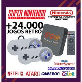 Tv Box Plus + 2 Controles Super Nintendo + 24.000 Mil Jogos