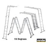 Escada Articulada Alumínio 4x4 Vonder 16degraus Profissional