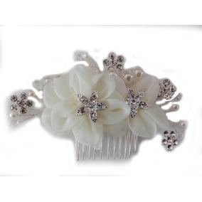 Tocado Novia Ivory Flores Tela Cristales Perlas M