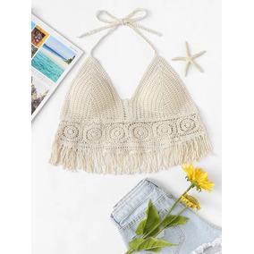 Top Crochet Imperdible Outfit Playa Cn Tu Traje Baño Sexy Gc