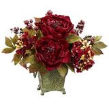 Nearly Natural 4928 Arreglo Floral De Peonias Y Hortensias