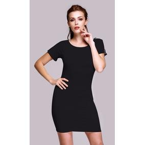 Vestido negro pegado manga corta