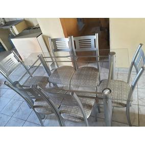 Mesa De Vidro, 6 Cadeiras.