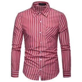 7df70155892 Lapela Duplo Listrado Homens Formal   Casual Shirts Longo Ma