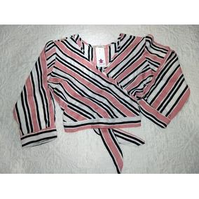 Cropped Blusa Camisa Feminino Listrado Manga Longa Promoção