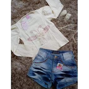 Conjunto Infantil Feminino Short Jeans + Blusa Manga Longa