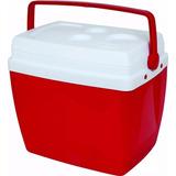 Caixa Térmica 34 Litros Vermelha Alça Mor Porta Copos Cooler