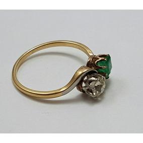 a1b388e145d2 Anillo Pellizco Antiguo Esmeralda Y Brillante Oro 18k