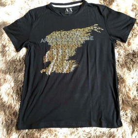 6870b8090f5 Camiseta Masculina Armani Exchange Preta Peruana Águia M Top