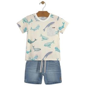 Conjunto Infantil Camiseta E Bermuda Bege Up Baby
