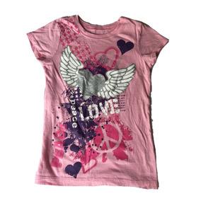 Playera Rosa Love Peace Place De Children
