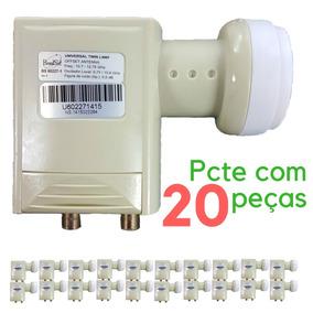 Lnbf Universal Duplo - Banda Ku Brasilsat Pcte Com 20 Peças