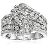 Anillo De Plata Esterlina Con Diamantes, 3 Filas Y Torsión
