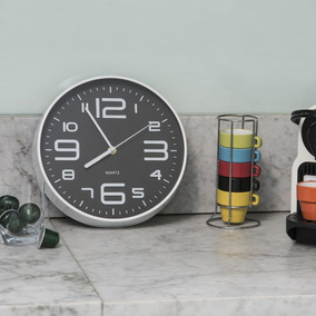 Reloj Pared Fdo.negro Borde Bco. 25 Cm.