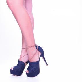 Sandália Feminino Jeans Salto Alto