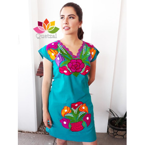 Vestido Mexicano Bordado Artesanal Típico Chiapas