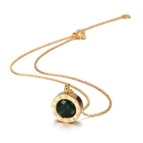 Collar Dama Chapa De Oro 18k Cristal Verde + Envío Gratis