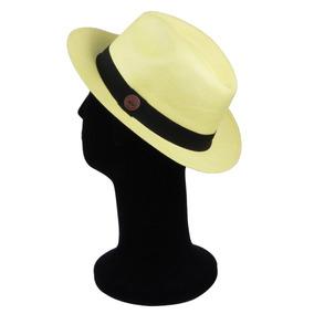 4810943077082 Chapéu Panamá Amarelo Aba M. Premium Legítimo Palha Toquila