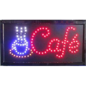 Placa Café Letreiro De Led Loja Painel Coffe 48 X 25cm