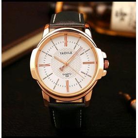 Relógio Masculino Elegante Quartz Casual Social Yazole Ouro