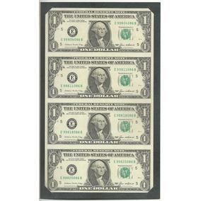 4 Quatro Cédulas Notas De 1 Dólar Americano Nova Original