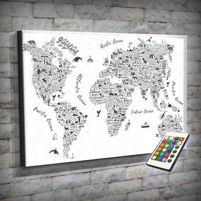 Cuadros 90x60 Luminoso Led Mapa Mundi Países Planisferio