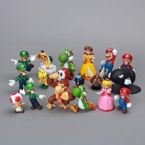 Kit Boneco Super Mario Bros 18 Miniaturas
