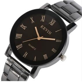 Reloj Acero Negro Marca Kevin Hombre Moda Mujer Mayoreo B154