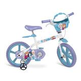 Bicicleta 14 Frozen Disney Branca Com Cestinha Removível