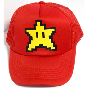 Mario Bros Gorra Camionero Estrella Star Rojo Ajustable 6f786e060cc