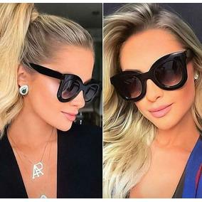 Óculos Feminino De Sol Quadrado Round Preto Tendencia Barato · R  39 58 97da511e48