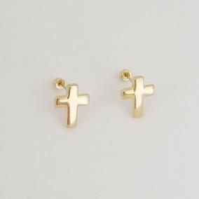 3cacd5904066 Aretes Broquel De Cruz Para Mujer Oro Sólido 10k