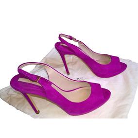 Sandália Zara Pink Camurça Peep Toe Salto Importada Tam 36