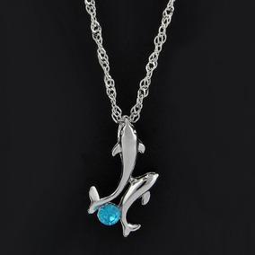 Hermoso Collar Suerte, Con Dije De Delfín, Piedra Azul
